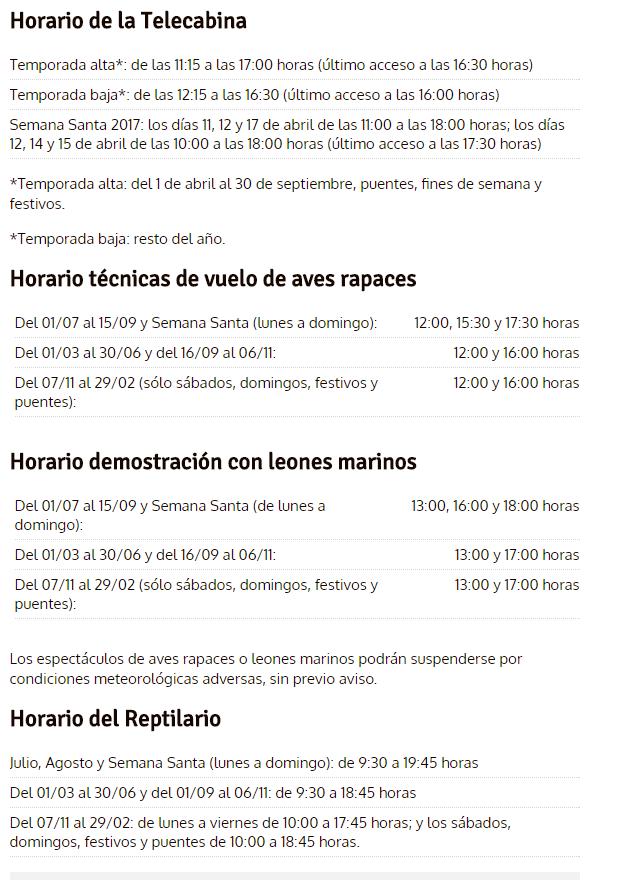 Horarios Cabarceno