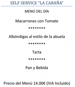 Menú del día (Cabárceno)