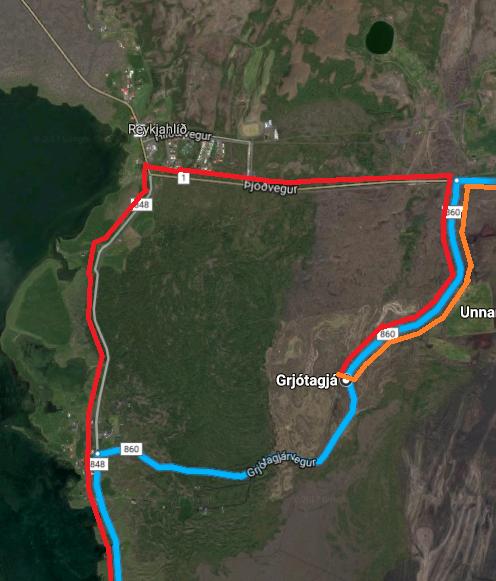 Camino rojo adecuado a Grjótagjá (Islandia)